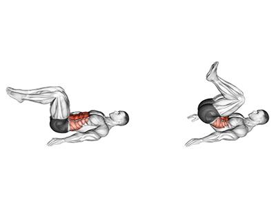 ناحیه فشار عضله در حرکت کرانچ معکوس